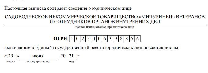 СНТ Мичуринец название в ЕГРЮЛ 2021